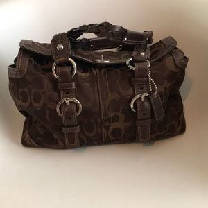 Brown Coach Purse Braided Straps ONE OF A KIND